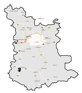 Położenie Zakliczyna na tle powiatu tarnowskiego