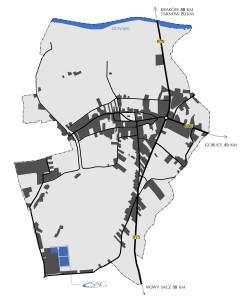 Położenie Strefy na tle miasta Zakliczyn
