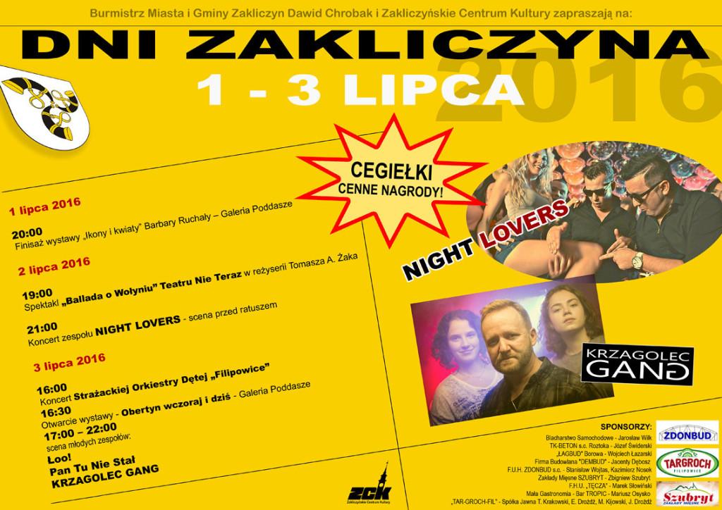 Plakat Dni Zakliczyna; 1-3 lipca 2016