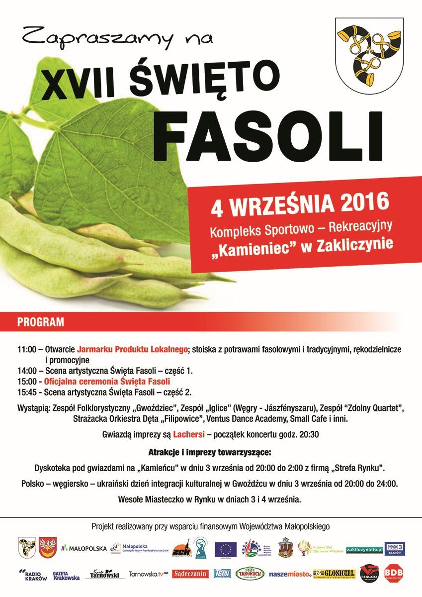 Plakat XVII Święta Fasoli, 4 września 2016