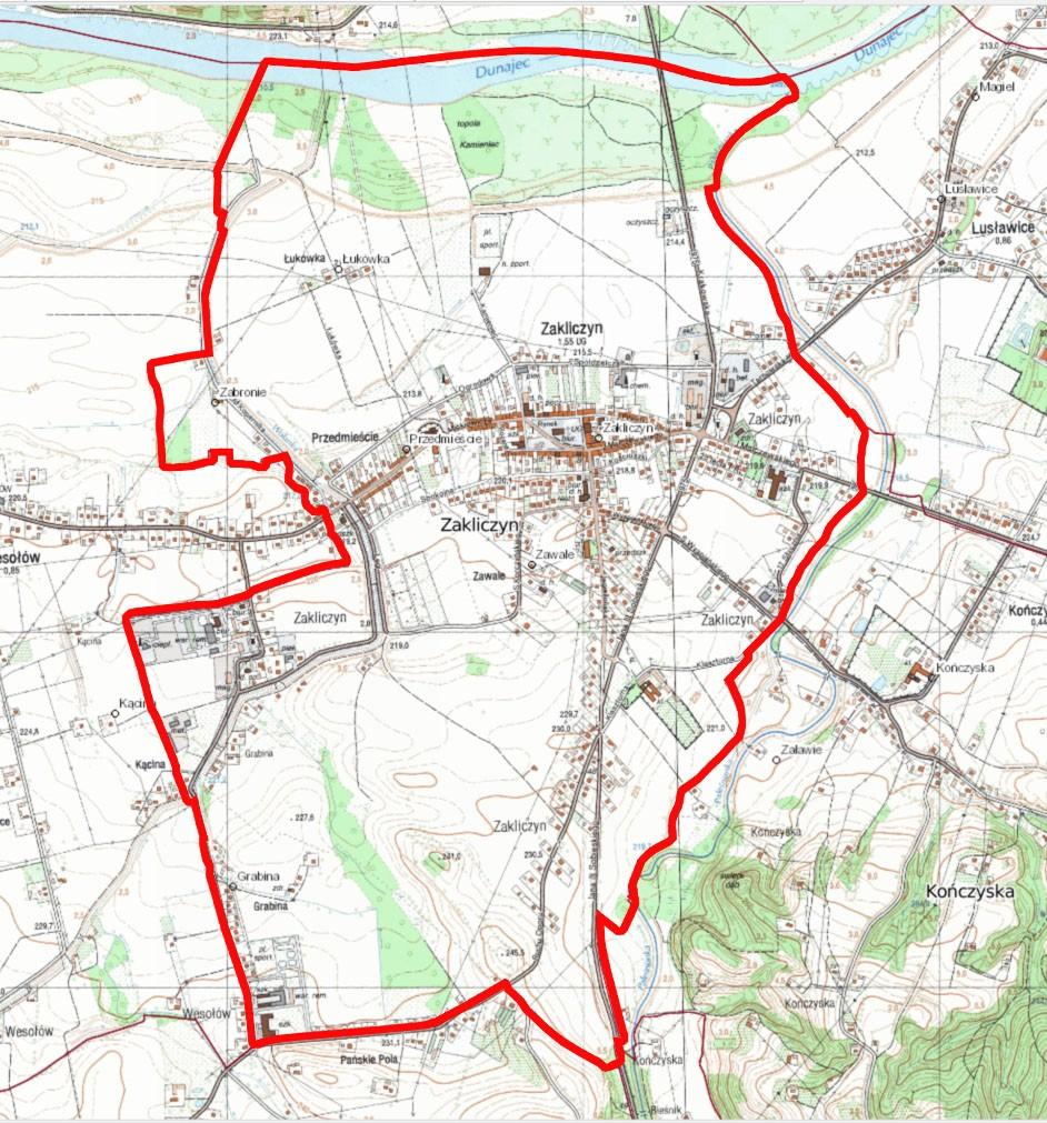 Załącznik graficzny do obwieszczenia o przystąpieniu do sporządzenia miejscowego planu zagospodarowania przestrzennego miasta Zakliczyn, w gminie Zakliczyn