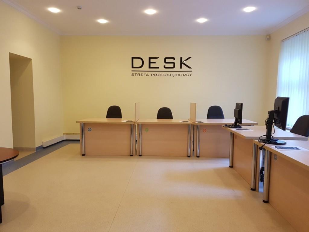 DESK Strefa Przedsiębiorcy, bezpłatna przestrzeń biurowa, fotografia wnętrza