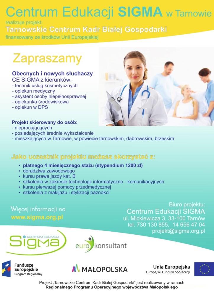 """Projekt """"Tarnowskie Centrum Kadr Białej Gospodarki"""", plakat"""