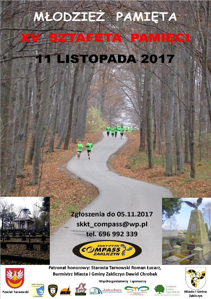 XV Sztafety Pamięci Łowczówek - Zakliczyn 2017, plakat imprezy