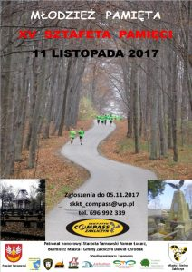 XV Sztafeta Pamięci Łowczówek – Zakliczyn 2017, 11 listopada 2017, plakat