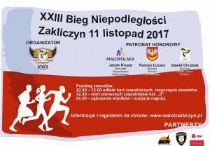 XXIII Uliczny Bieg Niepodległości w Zakliczynie, plakat