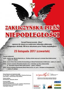 Zakliczyńska Pieśń Niepodległości - 23 listopada, plakat