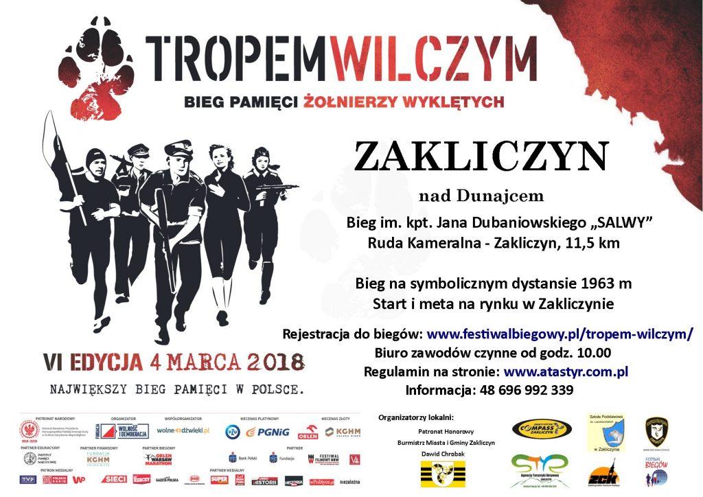 Tropem wilczym, Bieg Pamięci Żołnierzy Wyklętych, VI edycja, 4 marca 2018 r., plakat imprezy