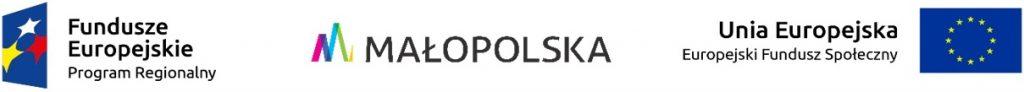 Pas logotypów: Fundusze Europejskie, Małopolska, UE - Fundusz Społeczny
