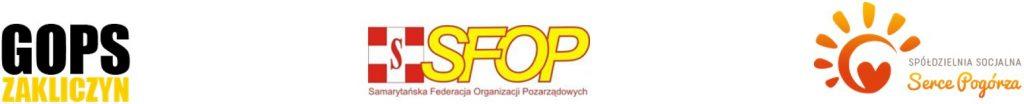 Pas logotypów: GOPS Zakliczyn, SFOP, Serce Pogórza