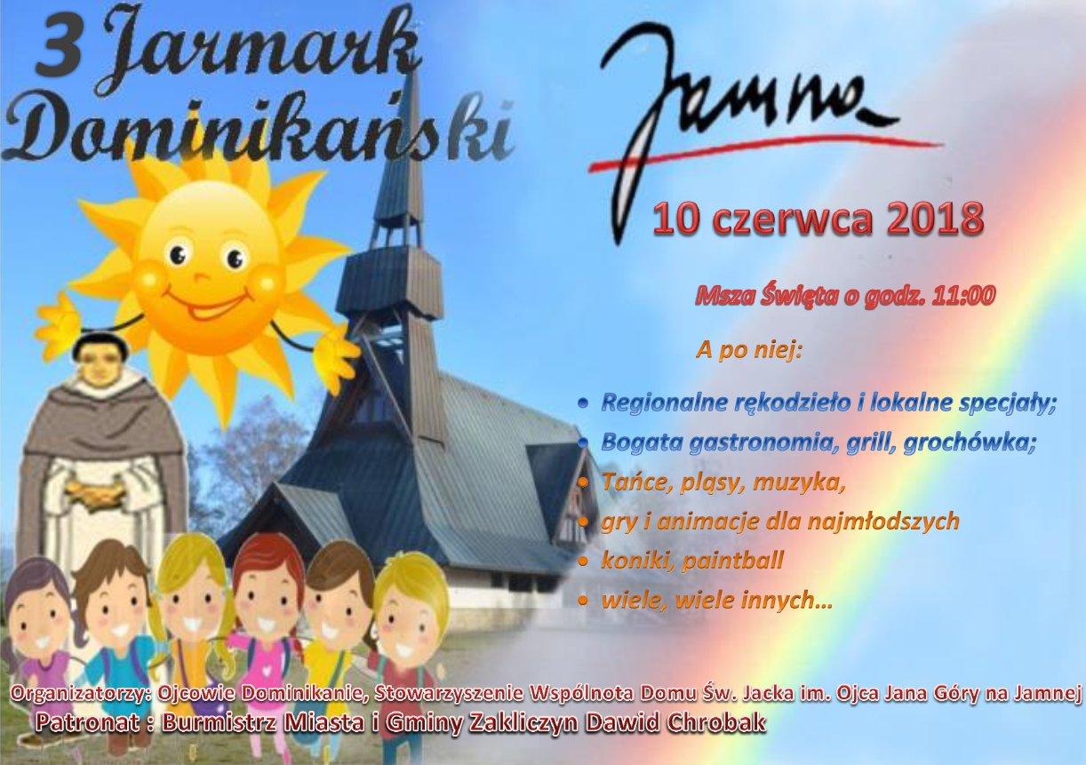3. Jamneński Jarmark Dominikański, Jamna - 10 czerwca 2018 r., plakat promocyjny