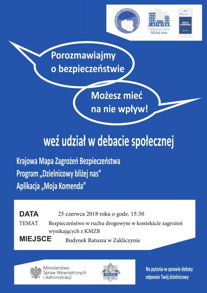 """""""Porozmawiajmy o bezpieczeństwie – możesz mieć na nie wpływ"""" - plakat promocyjny debaty społecznej"""