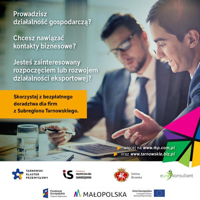 Bezpłatne usługi doradcze dla firm Subregionu Tarnowskiego, baner promocyjny