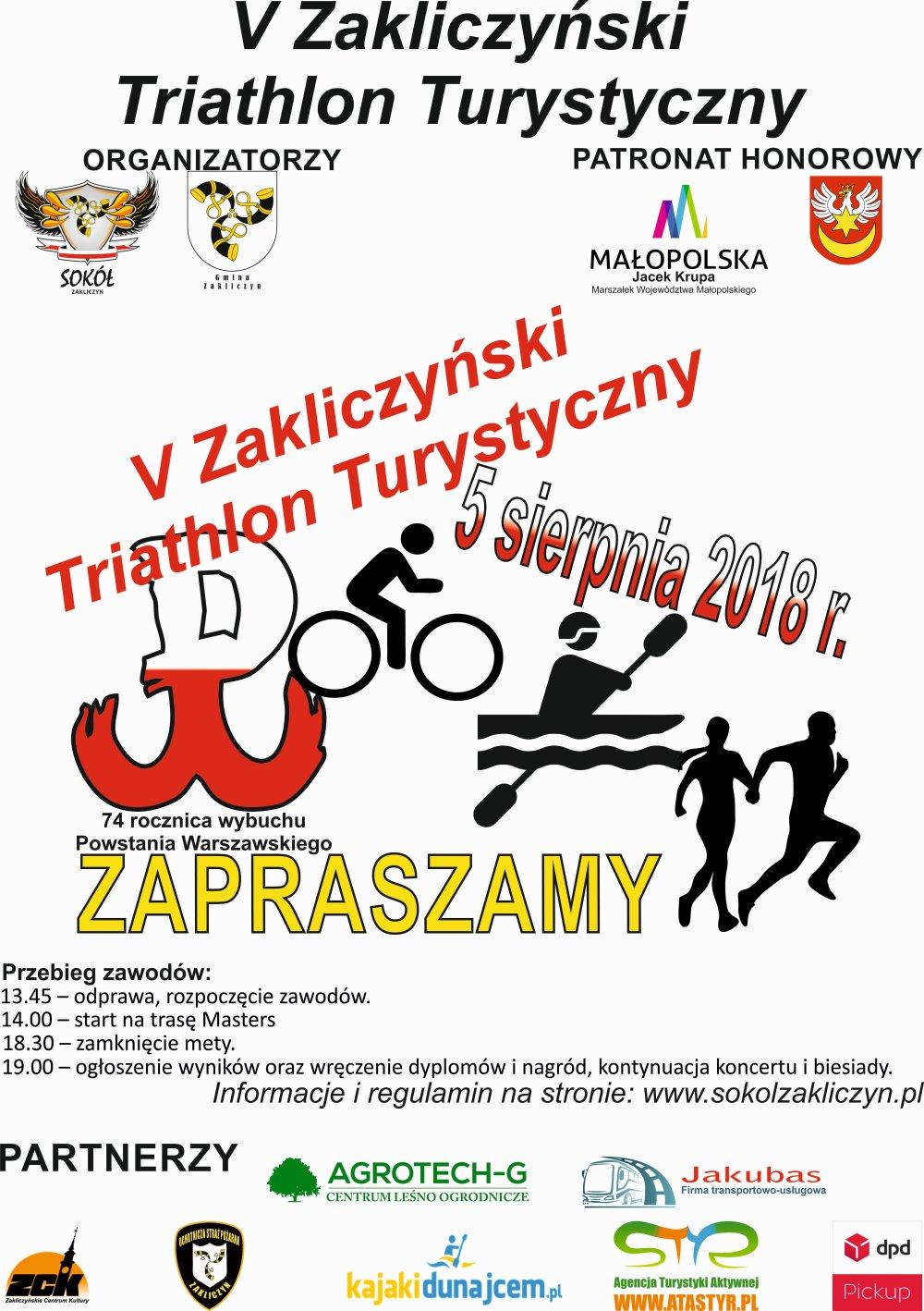 V Zakliczyński Triathlon Turystyczny, 5 sierpnia 2018 r., plakat imprezy
