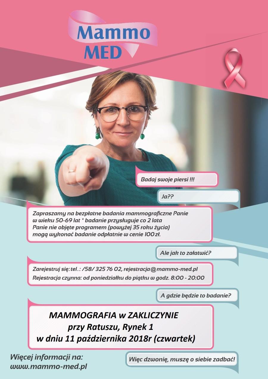Badania mammograficzne, Zakliczyn, 11 października 2018 r., plakat promocyjny akcji