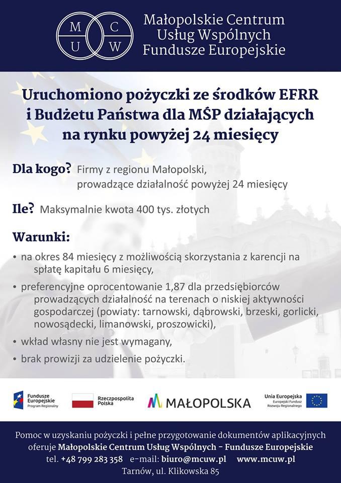 Plakat informacyjny Małopolskiego Centrum Usług Wspólnych