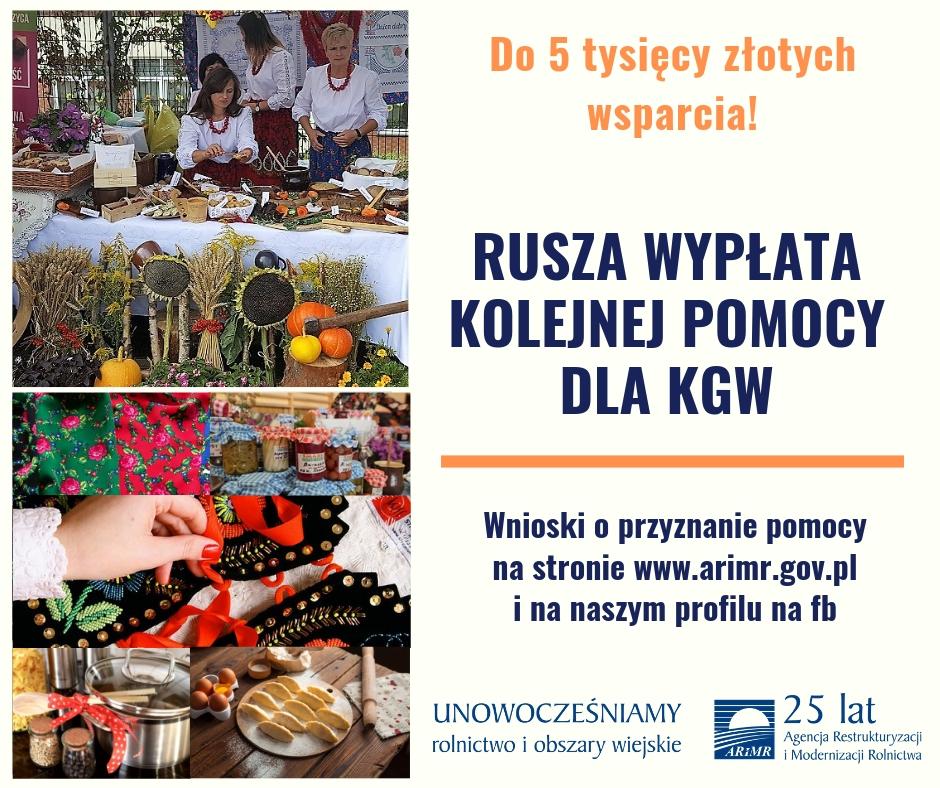 """Plakat promocyjny """"Nawet do 5 tys. zł dla KGW"""""""