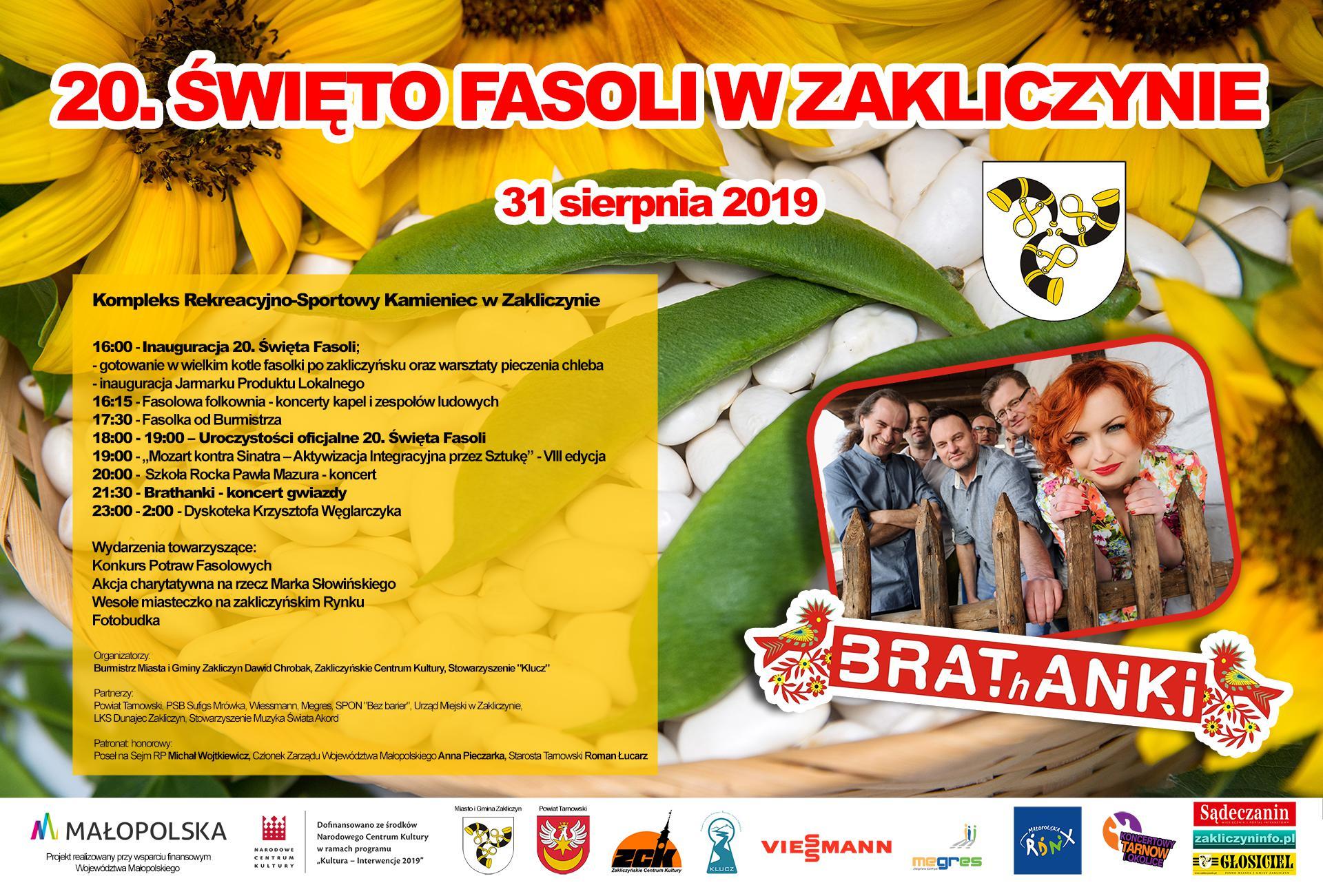 20. Święto Fasoli w Zakliczynie, 31 sierpnia 2019 r., plakat promocyjny imprezy