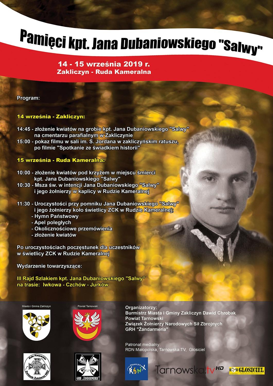"""Pamięci kpt. Jana Dubaniowskiego """"Salwy"""", plakat wydarzenia"""