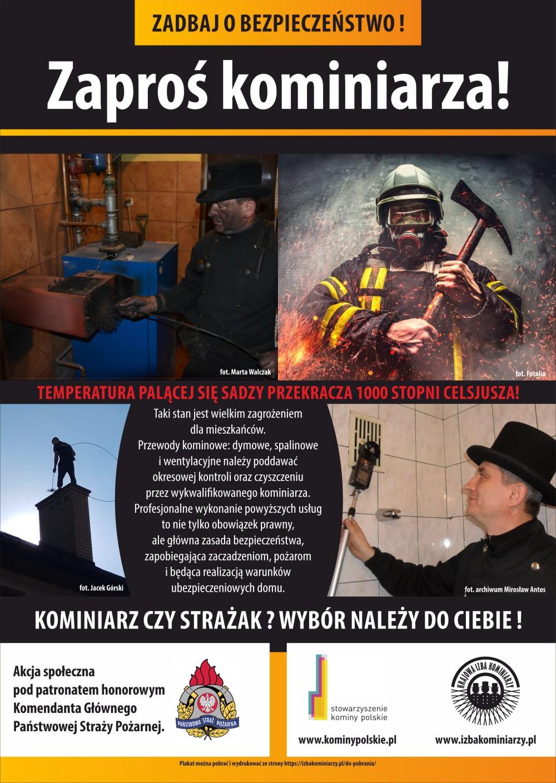 """plakat promocyjny akcji """"Zaproś kominiarza"""""""