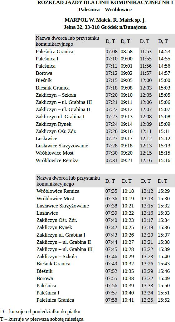 Aktualizacja rozkładu jazdy na linii komunikacyjnej Wróblowice-Paleśnica