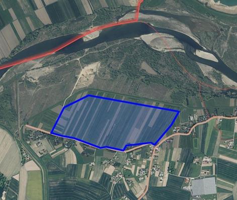 fragment mapy z zaznaczoną granicą obszaru objętego zmianą studium