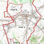 fragment mapy z zaznaczonymi granicami obszaru (Etapu A) objętego ponownym wyłożeniem projektu