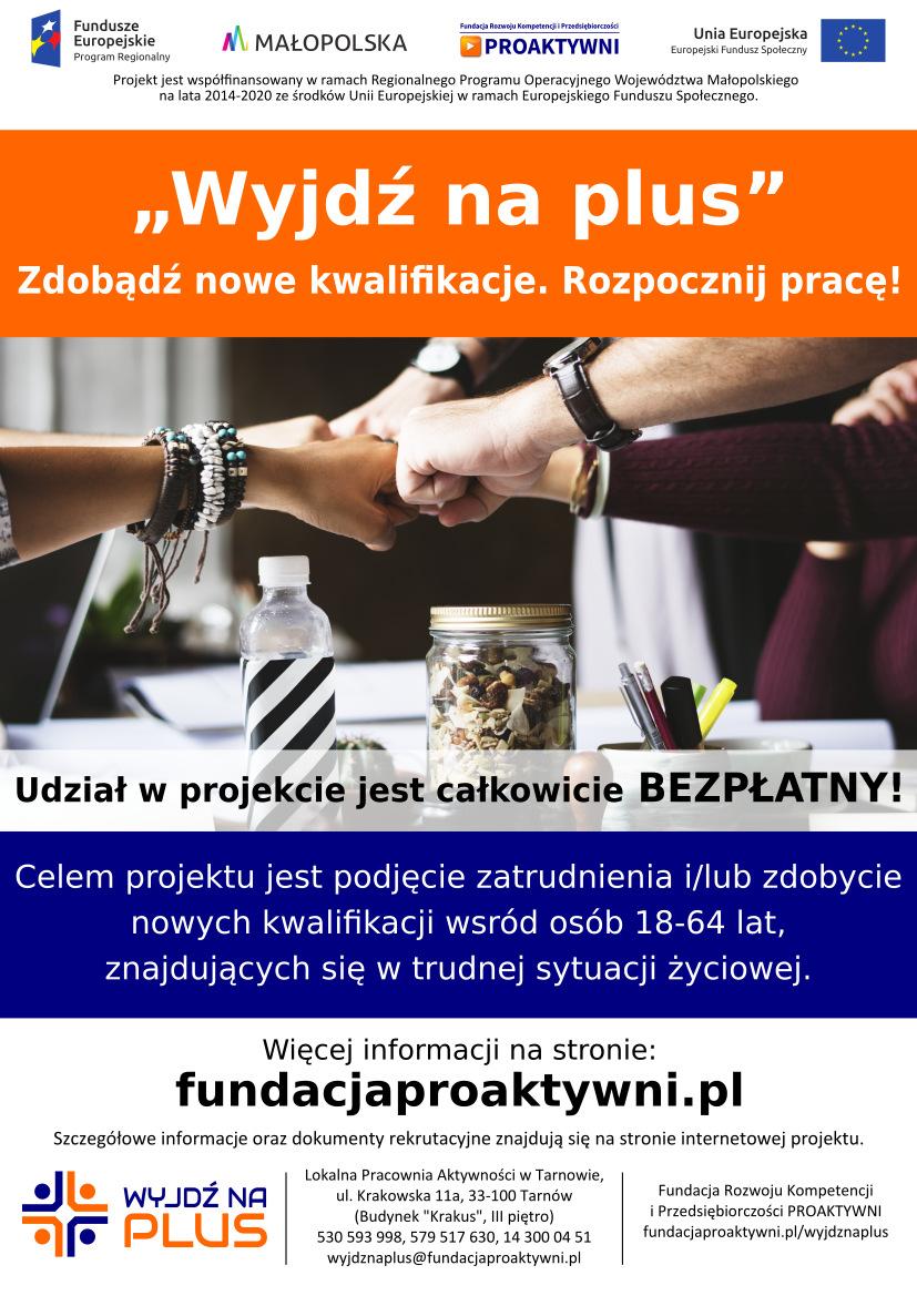 """plakat informacyjny XII edycji projektu """"Wyjdź na plus"""""""