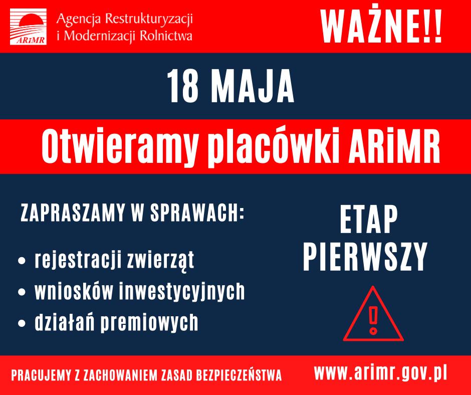 informacja o otwarciu (od 18 maja) placówek ARiMR
