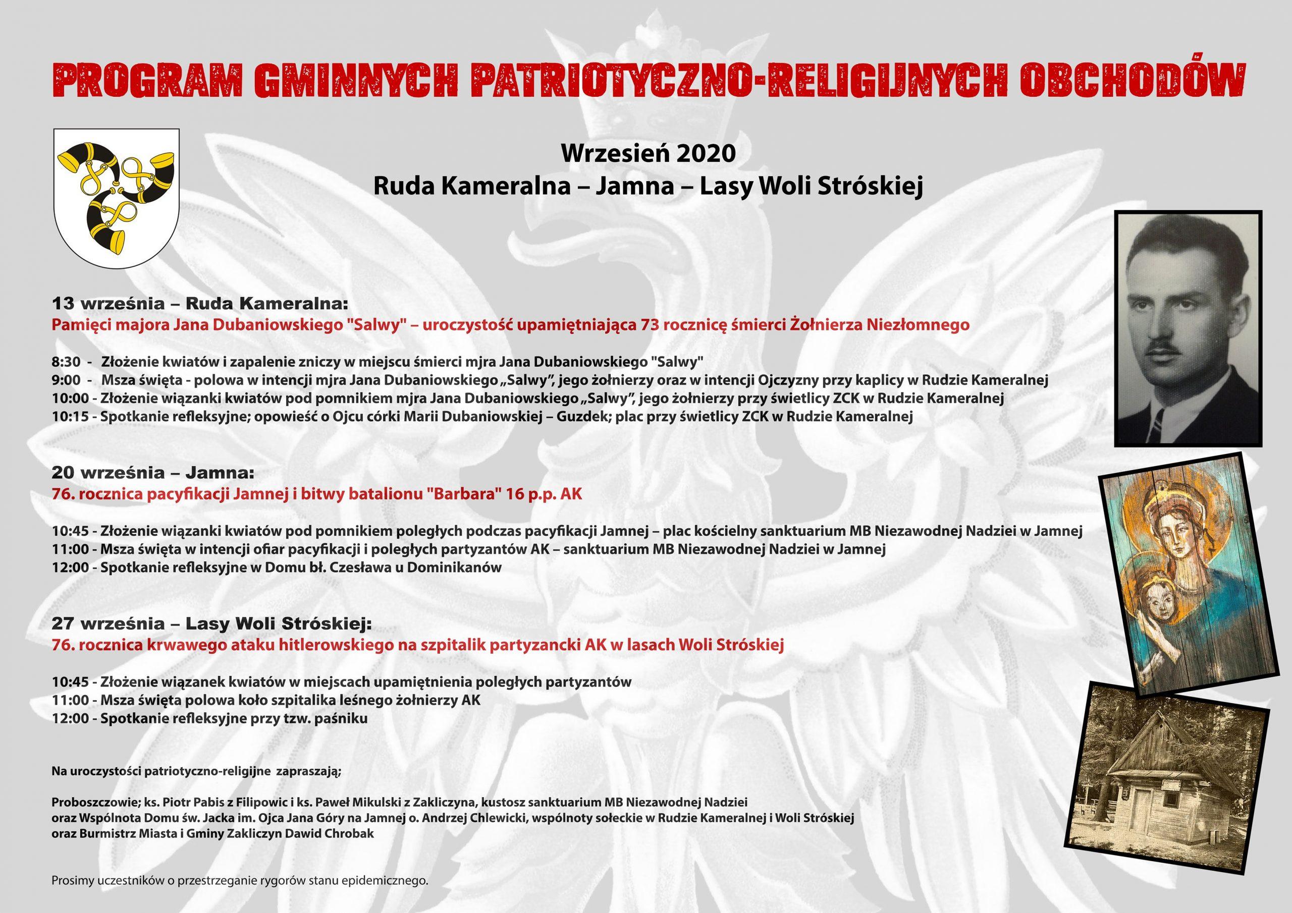 plakat z programem uroczystości patriotyczno-religijnych w Gminie Zakliczyn