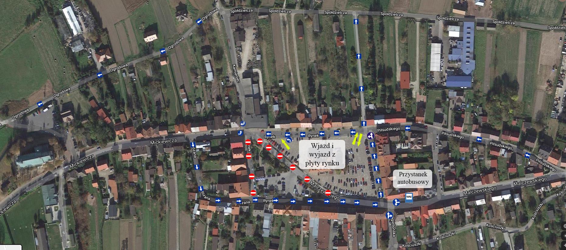 mapa z obowiązująca od 16 września 2020 r. zmianą w tymczasowej organizacji ruchu w Rynku w Zakliczynie